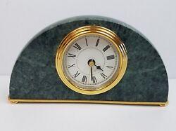 Vintage Green Marble and Brass Quartz Office Roman Numeral Desk Clock