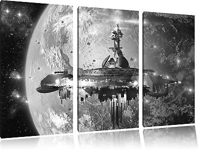 chiff vor der Erde Kunst B&W 3-Teiler Leinwandbild Wanddeko  (Raumschiff Kunst)