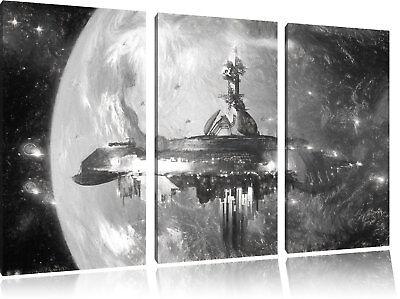 chiff vor der Erde Kunst Kohle Effekt 3-Teiler Leinwandbild  (Raumschiff Kunst)