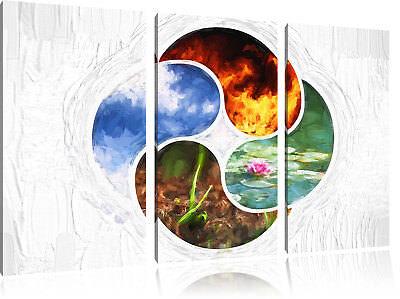 Vier Pinsel (Die vier Elemente Kunst Pinsel Effekt 3-Teiler Leinwandbild Wanddeko Kunstdruck)