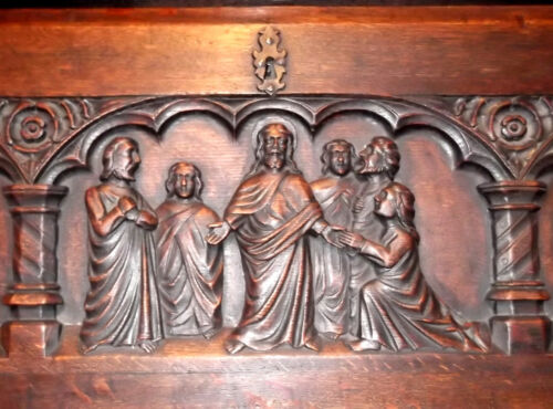 1650 ANTIQUE CARVED LIFE OF JESUS CHRIST SECRETARY DESK Bible church christian