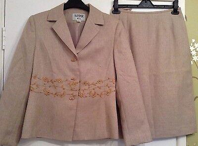 Kasper 2 Piece Size 10 Skirt Jacket Suit Beige / Brown Embroidery Jacket Ladies