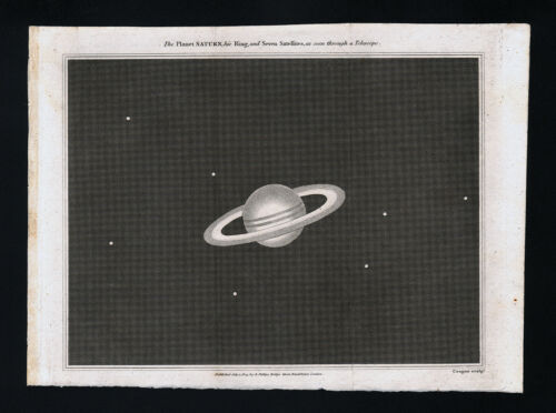 1809 Astronomy Print Saturn Rings & Moons Solar System Planet Telescope
