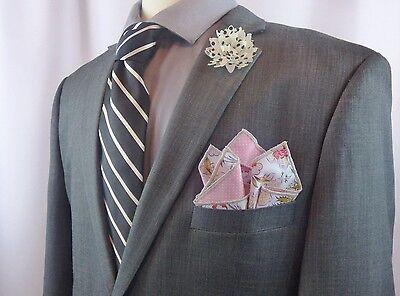 NEW Men's Pocket Square Pink Gray Floral Reversible Polka Dots
