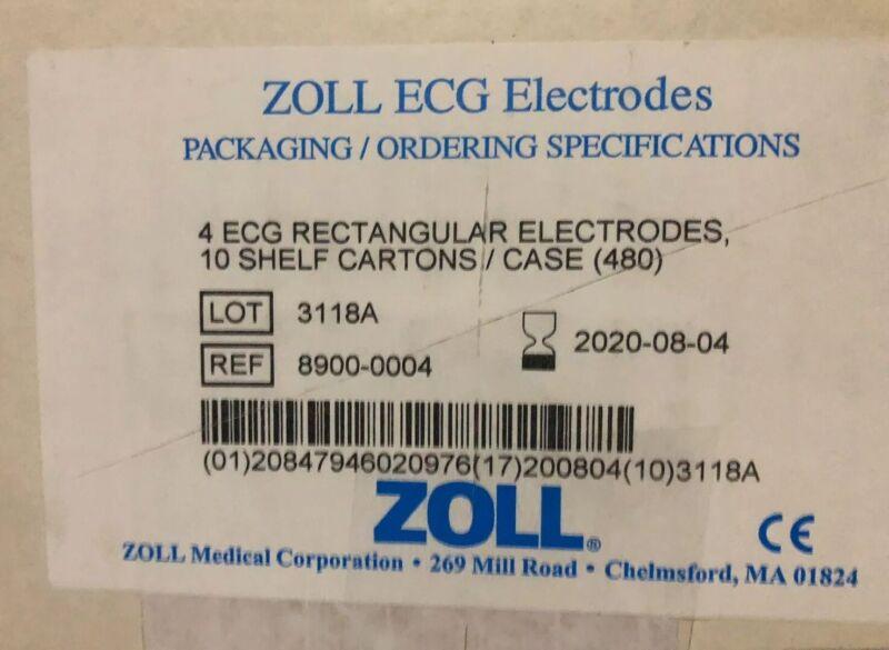 (CASE of 480) ZOLL 4 ECG Rectangular Electrodes 8900-0004  EXP 08/2020
