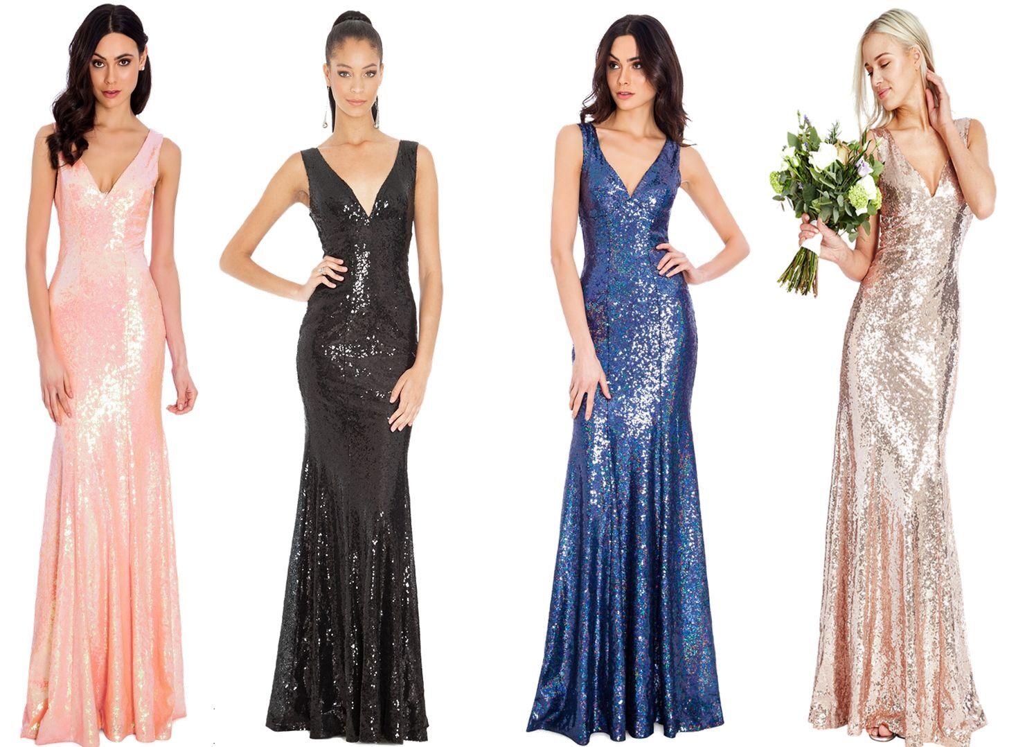 Womens Goddiva Blue Sparkly Sequin Elegant Formal Evening Ball Gown 8 10 12 14