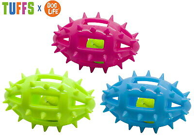 1 X TUFFS DOG LIFE TPR RUBBER LARGE 16 CM SPIKEY RUGBY BALL SQUEAKY DOG TOY 4965