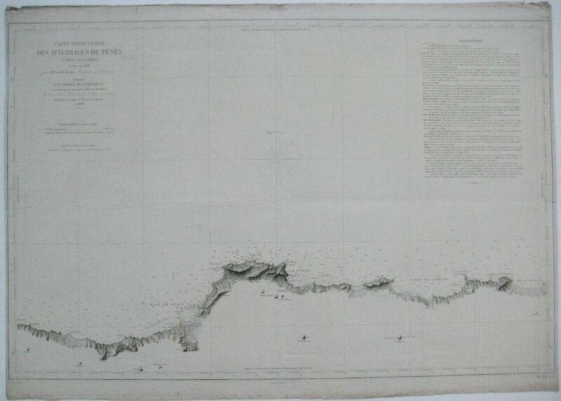 Original 1858 Nautical Map COAST OF ALGERIA Ténès Lighthouse Beni Haoua Maïnis