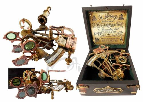 Collectible Vintage Brass Ship History Sextant with Hardwood Box