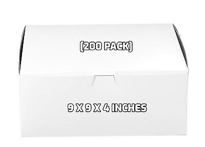 200 Pack White Bakery Pastry Boxes - 9 X 9 X 4 Inches