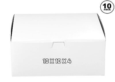 10 Pack White Bakery Pastry Boxes 10 X 10 X 4 Inch For Baked Goods Cakes Gifts