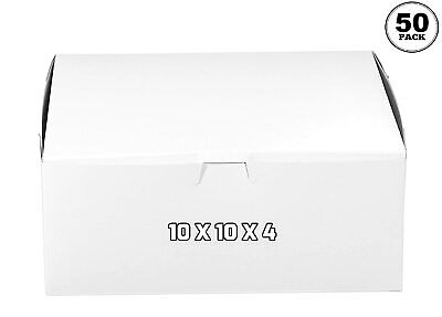 50 Pack White Bakery Pastry Boxes 10 X 10 X 4 Inches