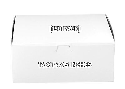 150 Pack White Bakery Pastry Boxes - 14 X 14 X 5 Inches