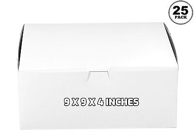 25 Pack White Bakery Pastry Boxes - 9 X 9 X 4 Inches