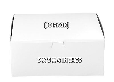10 Pack White Bakery Pastry Boxes - 9 X 9 X 4 Inches