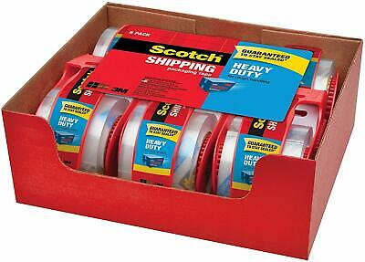 Scotch Shipping Packaging Tape Clear 6 Rolls w/ Dispensers 3M Heavy Duty Packing