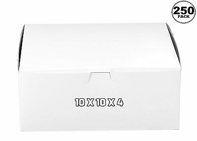 250 Pack White Bakery Pastry Boxes 10 X 10 X 4 Inches