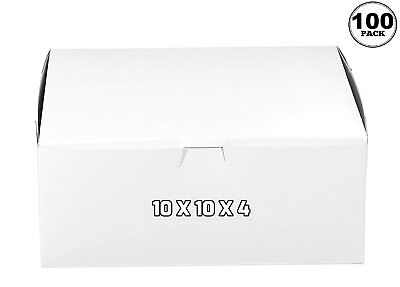 100 Pack White Bakery Pastry Boxes 10 X 10 X 4 Inches
