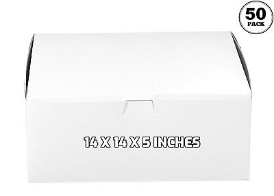 50 Pack White Bakery Pastry Boxes - 14 X 14 X 5 Inches