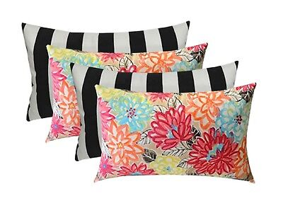 Set of 4 Outdoor Artistic Floral & Black/White Stripe Throw Pillow - Choose Size](Outdoor Pillow Set)