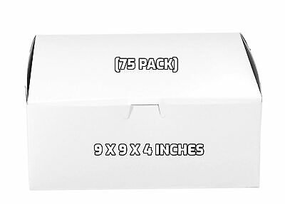 75 Pack White Bakery Pastry Boxes - 9 X 9 X 4 Inches
