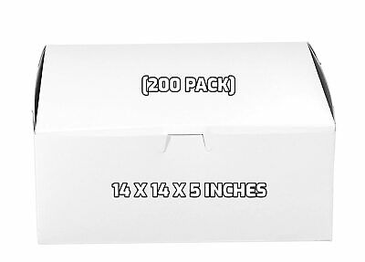 200 Pack White Bakery Pastry Boxes - 14 X 14 X 5 Inches