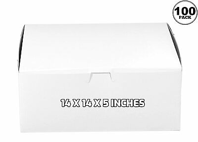 100 Pack White Bakery Pastry Boxes - 14 X 14 X 5 Inches