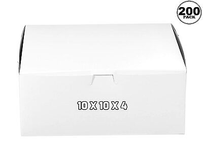 200 Pack White Bakery Pastry Boxes 10 X 10 X 4 Inches