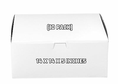 10 Pack White Bakery Pastry Boxes - 14 X 14 X 5 Inches