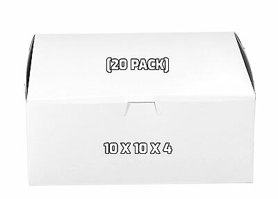 20 Pack White Bakery Pastry Boxes 10 X 10 X 4 Inches