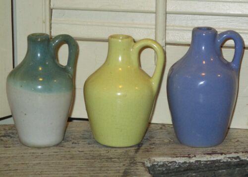 3 Vintage UHL Miniature Stoneware Whiskey Jug Lot Pottery Pitchers Blue Green