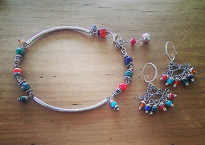 Raindrops Anklet and Earrings