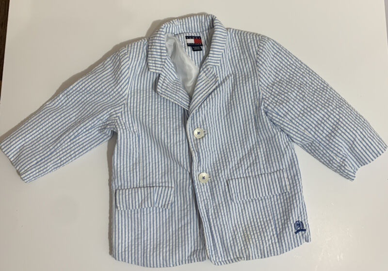 Vintage Tommy Hifiger Boys Blazer Jacket Sears Sucker Blue White Size 18 Months