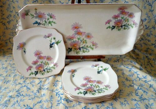 Royal Staffordshire Arthur Wilkinson 6 Plates + Serving Tray Marguerite 1890s