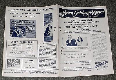 NO LEAVE, NO LOVE original 1946 MGM pressbook VAN JOHNSON/PAT KIRKWOOD