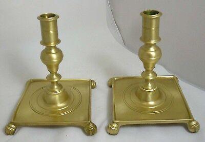 Vtg Pair Virginia Metalcrafters #CW 16-5 Brass Candlestick Holders Claw Feet VM