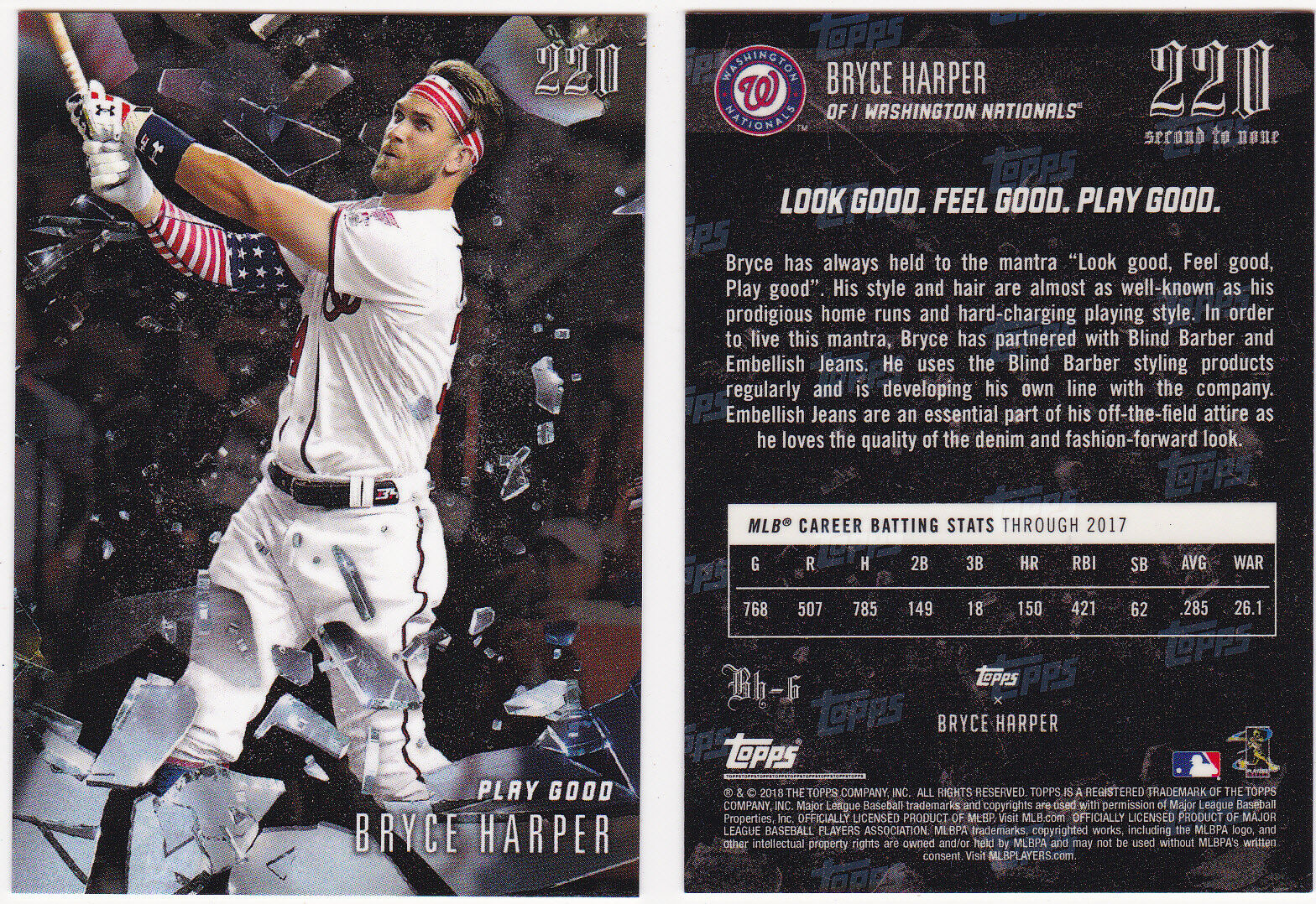 2018 Topps 220 Bryce Harper Second To None Play Good BH-6 Nationals SP 5196 - $1.95