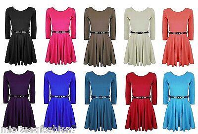 Girls Skater Dress 3/4 Sleeve Belted Flared Frankie Party Top 7-16yrs (Formal Girls Dresses 7 16)