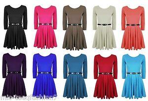 Girls-Belted-Skater-Dress-3-4-Sleeve-Flared-Frankie-Party-Top