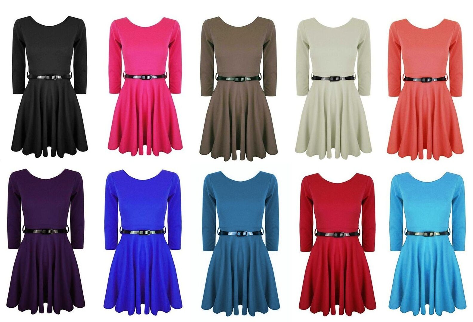 Girls Skater Dress 3/4 Sleeve Belted Flared Frankie Party To