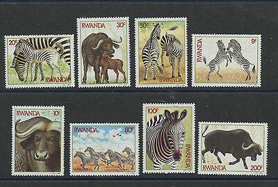 ZEBRA BUFFALO SET OF 8 MNH STAMPS 1984 RWANDA 1199-1206 AFRICAN WILD ANIMALS