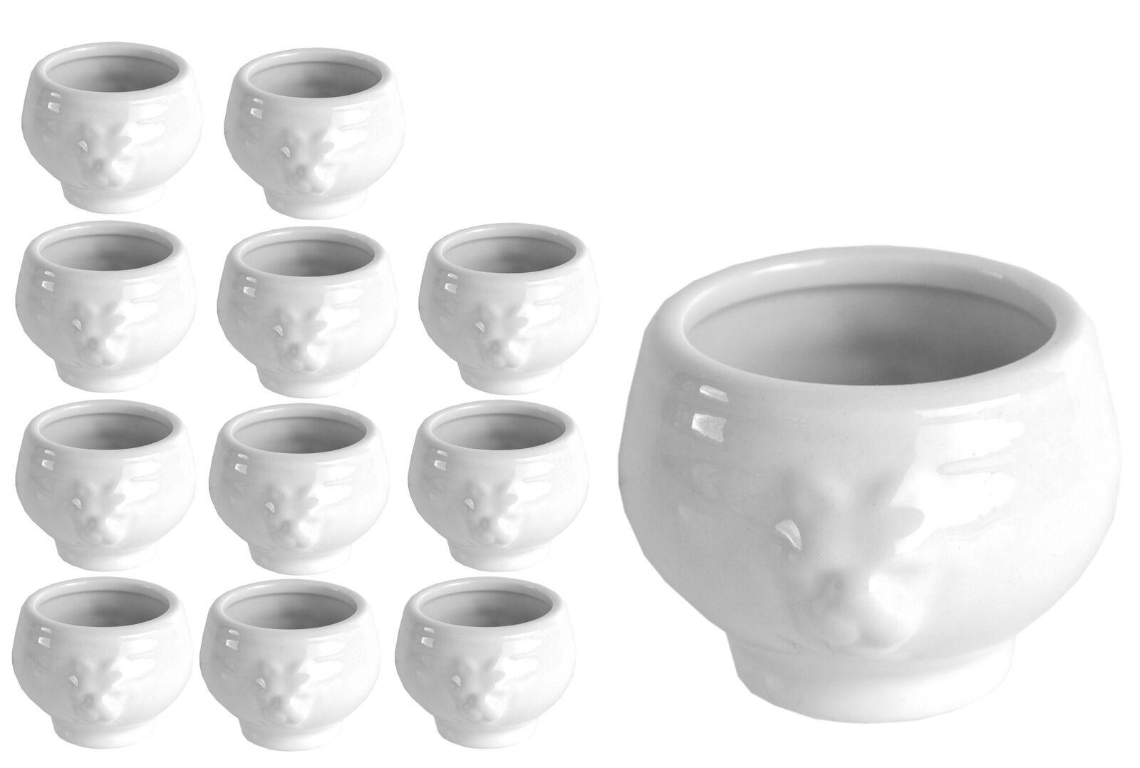 12er Set Mini Löwenkopfterrine 6cl weiß Dip-Schale Schälchen Geschirr Porzellan