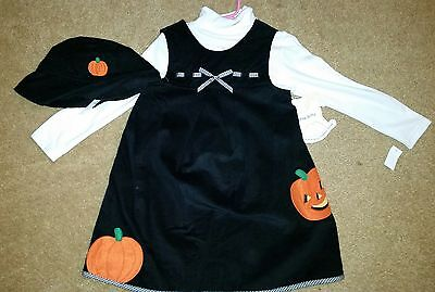 Little Black Dress Halloween (LITTLE BITTY GIRLS BLACK/WHITE 3-PIECE HALLOWEEN JUMPER DRESS SET SIZE 4 )