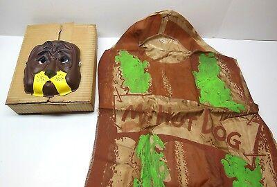 Vintage HALLOWEEN Costume Mr. Hot Dog Large W/ Mask & Box RARE FAST - Dog Costume Box