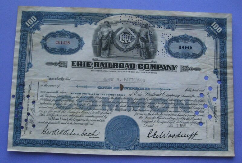Stock Certificate For The Erie Railroad Comany 1950