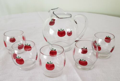 Vintage Glass Tomato Juice Set  Pitcher and 5 Glasses 1950