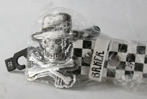 Baker Checkered Skateboard Belt w/ silver Skull Crossbones w Fedora, size 32 NOS