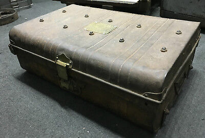 Vintage Industrial Metal Travel Trunk