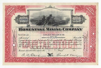 Homestake Mining Company Stock Certificate