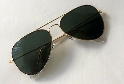 New Ray Ban Aviator RB 3025 W3234 gold/green size small 55mm sunglasses